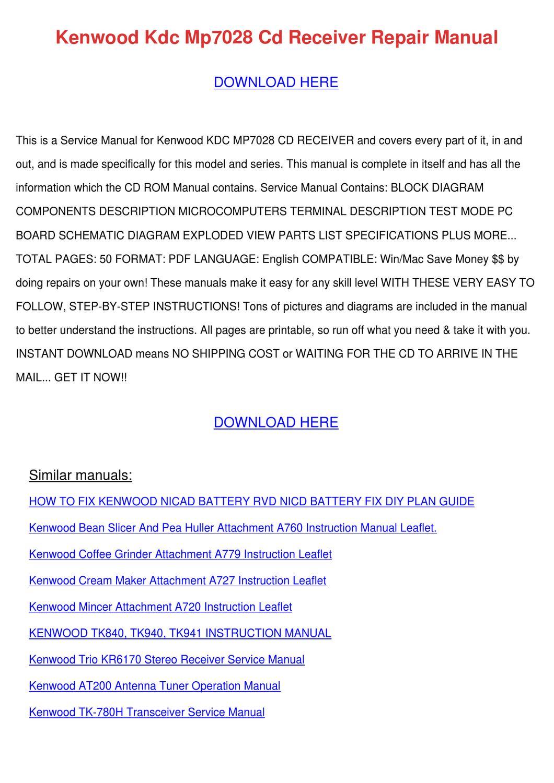 kenwood vr 705 sa audio video surround receiver repair manual