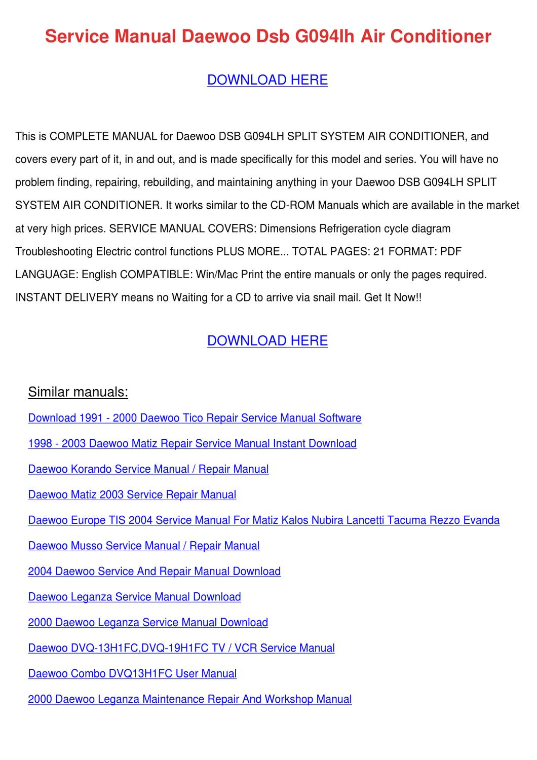 Daewoo Matiz Wiring Diagram Free Download Library 2003 Lanos Compartment Fuse Box Array Service Manual Dsb G094lh Air Conditio By Anastasiaward Issuu Rh Workshop