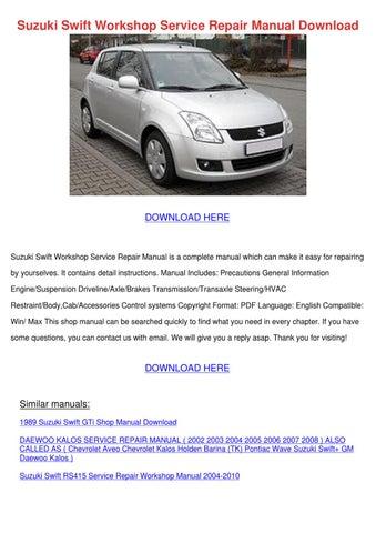 2004-2008 suzuki swift sport factory service repair manual 2005 200.