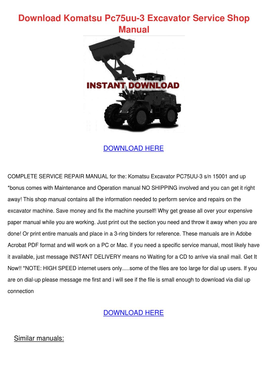 Download Komatsu Pc75uu 3 Excavator Service S by WadeStorey - issuu