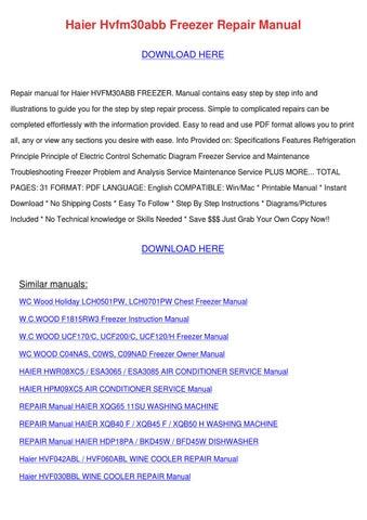 Haier Hvfm30abb Freezer Repair Manual by WadeStorey - issuu on