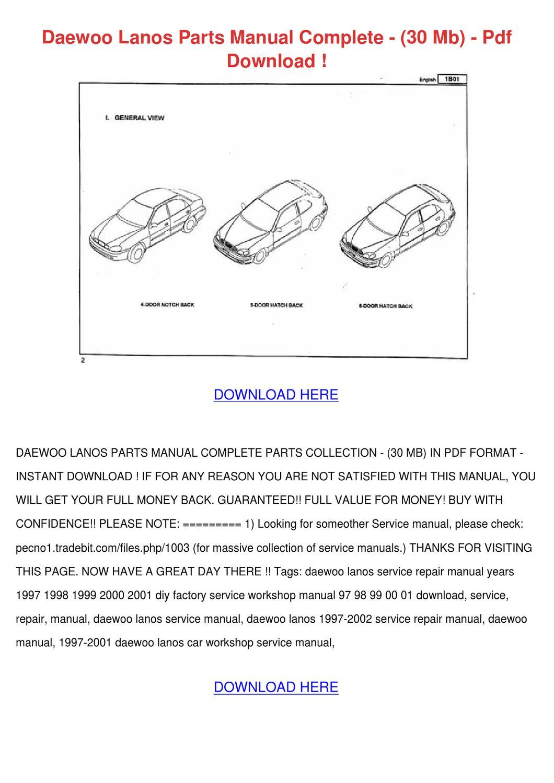 Daewoo Lanos Parts Manual Complete 30 Mb Pdf By Deboracameron Issuu