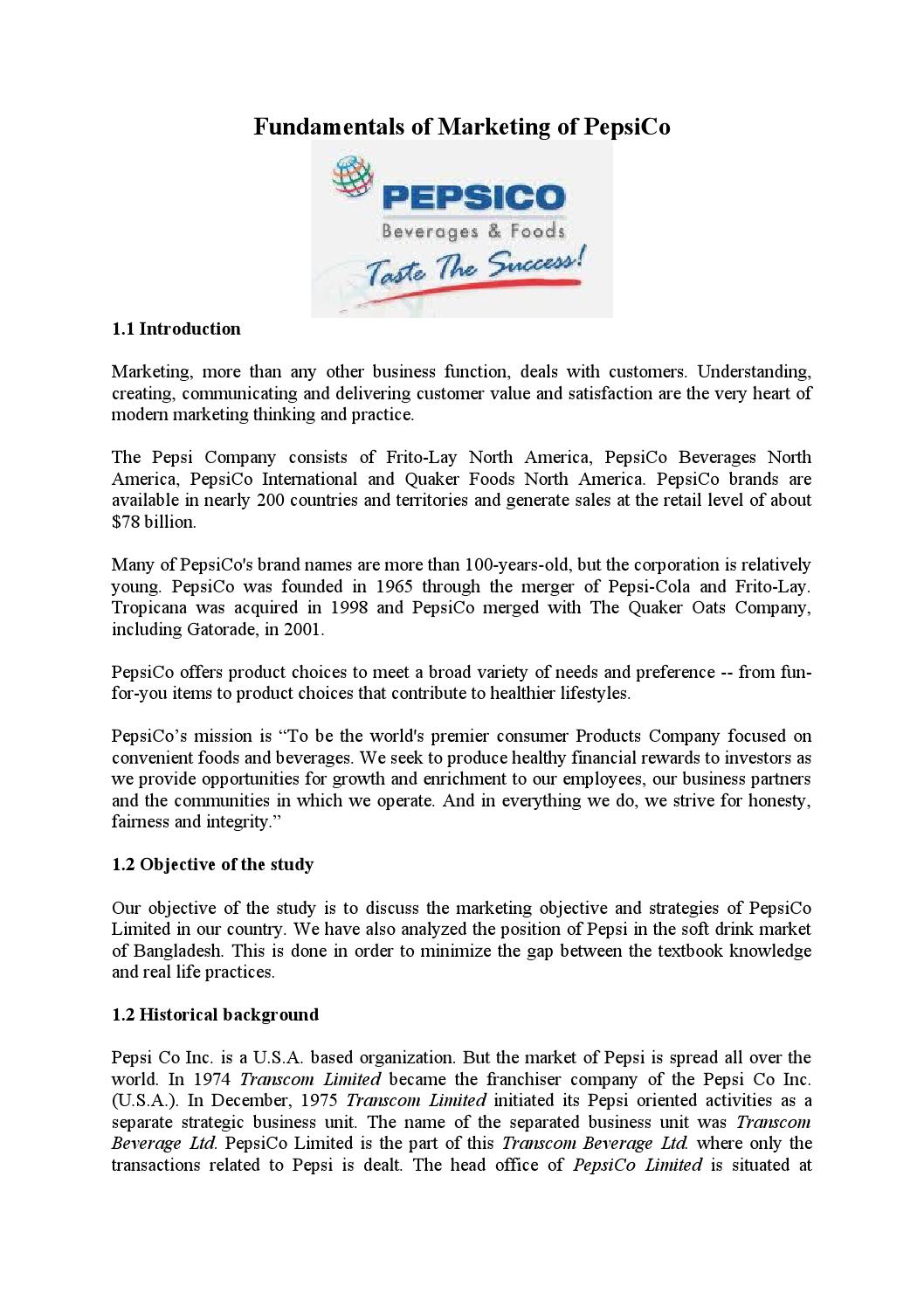 Pepsico fundamentals of marketing by Md Papon - issuu