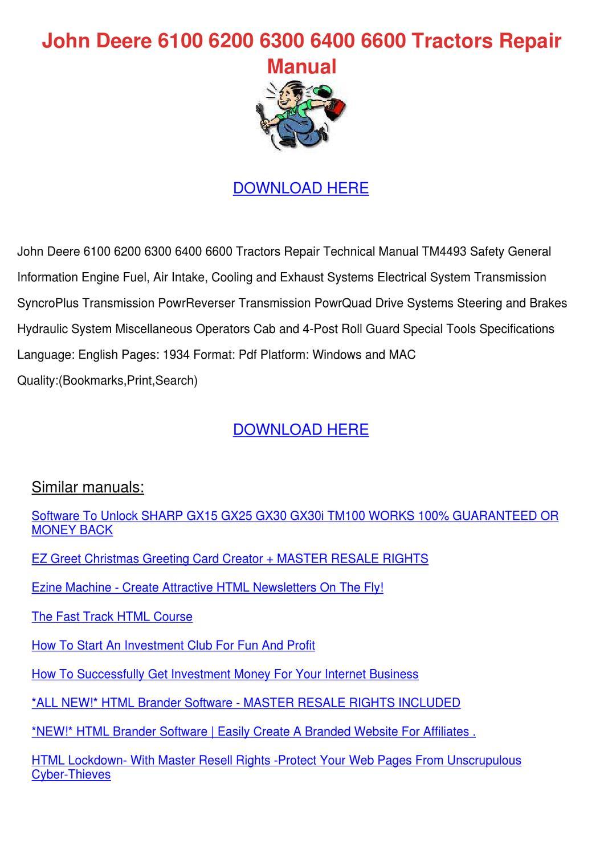 John Deere 6100 6200 6300 6400 6600 Tractors by MarionKlein - issuu