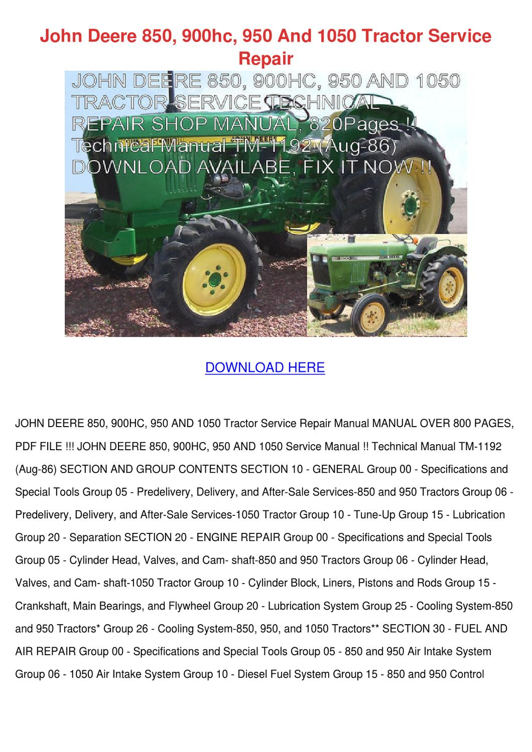 John Deere 850 900hc 950 And 1050 Tractor Ser By Marionklein Issuu Gt242 Wiring Diagram