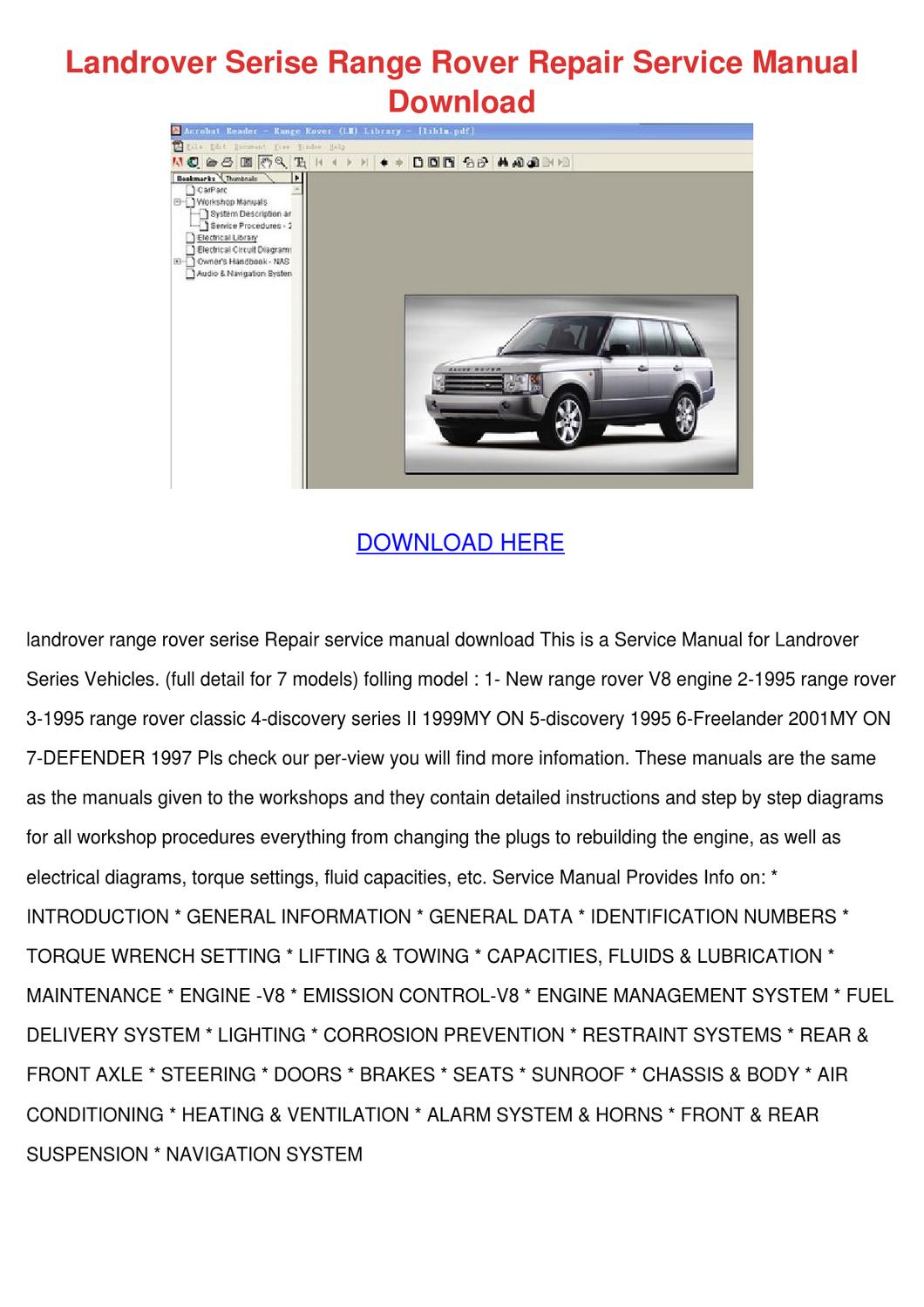 Landrover Serise Range Rover Repair Service M By Marionklein Issuu