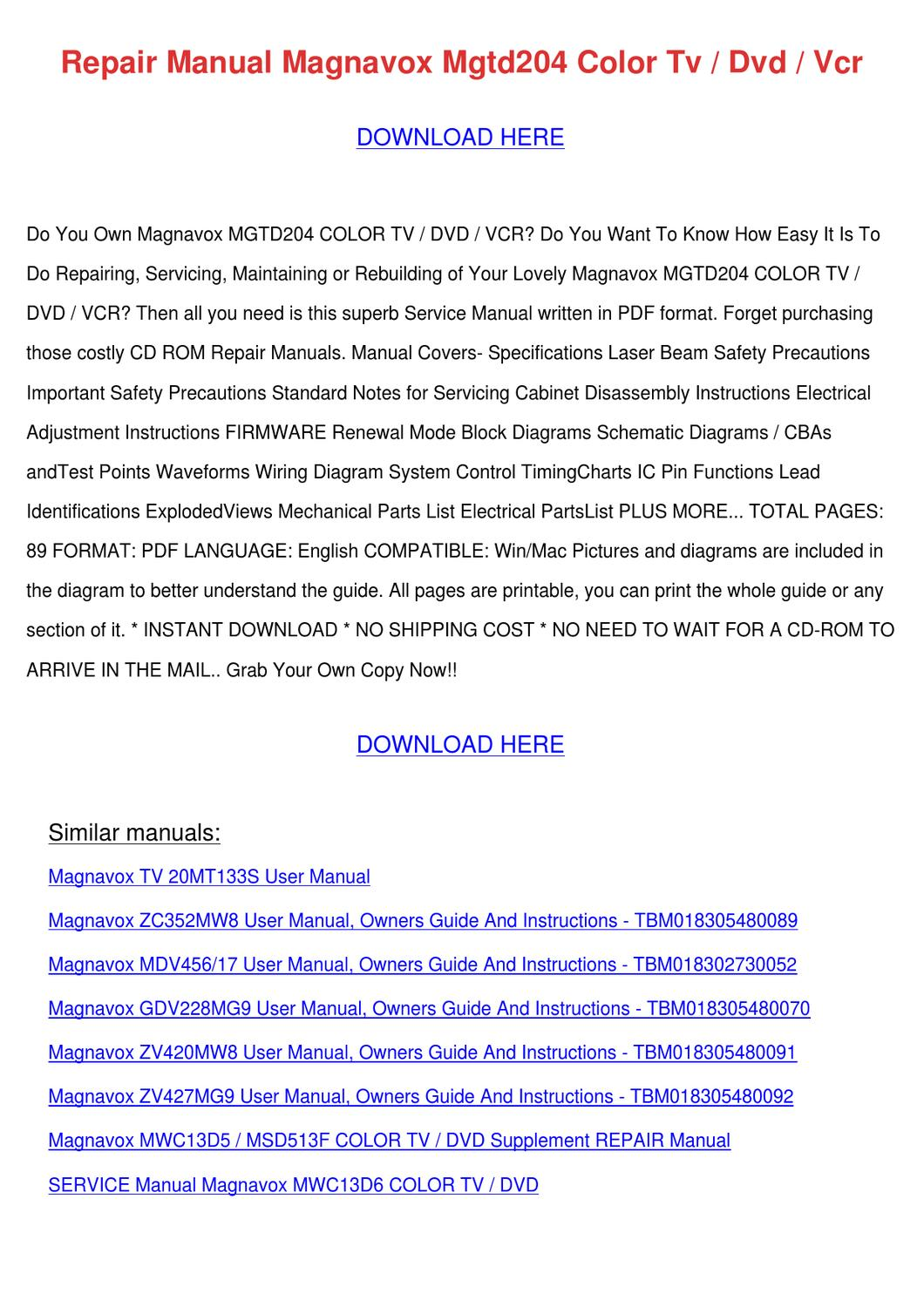 repair manual magnavox mgtd204 color tv dvd v by hermelindafrey issuu rh issuu com Toshiba DVD VCR Schematics VCR Schematic Diagram