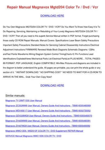 Repair Manual Magnavox Mgtd204 Color Tv Dvd V by HermelindaFrey ...