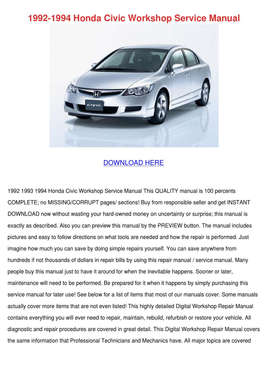 1992 1994 Honda Civic Workshop Service Manual by ChristelBrubaker - issuu
