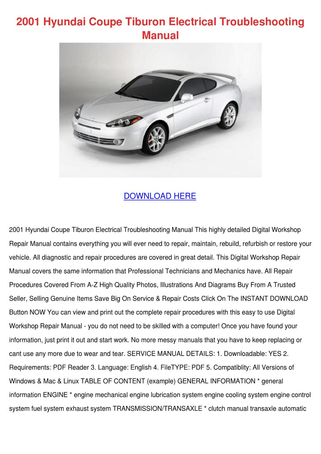 2001 Hyundai Coupe Tiburon Electrical Trouble by ChristelBrubaker - issuu
