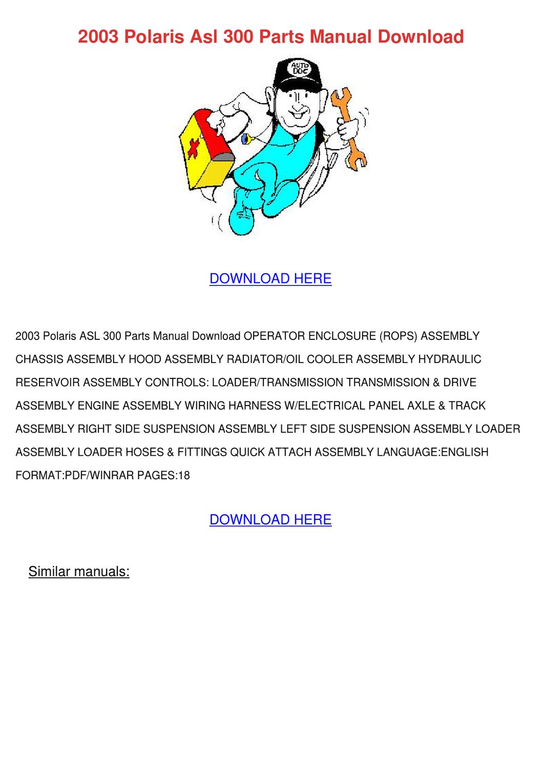 2003 Polaris Asl 300 Parts Manual Download by ChristelBrubaker - issuu