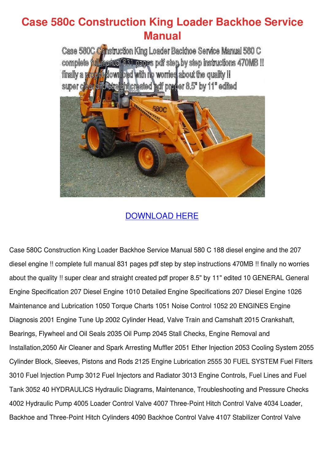 Case 580c Construction King Loader Backhoe Se by