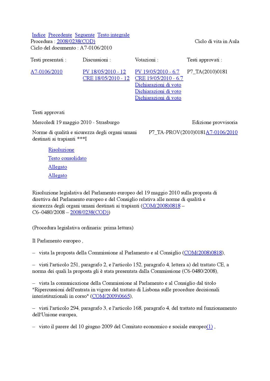 Risoluzione trapianti ue 19th may 2010 by federsanit anci for Votazioni parlamento