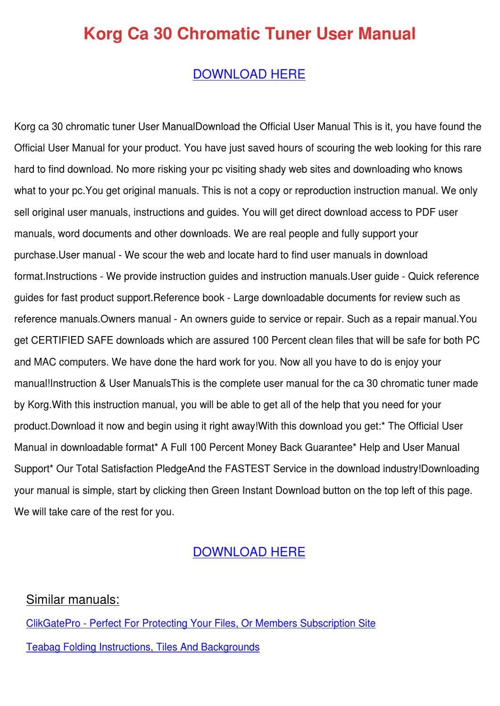 Korg Downloads