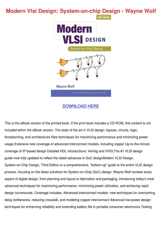 Modern Vlsi Design System On Chip Design Wayn By Estebandobson Issuu