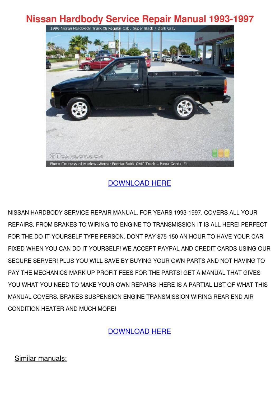 Nissan Hardbody Service Repair Manual 1993 19 by EstebanDobson - issuu