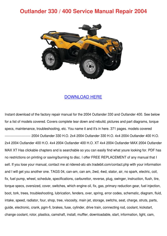Outlander 330 400 Service Manual Repair 2004 By