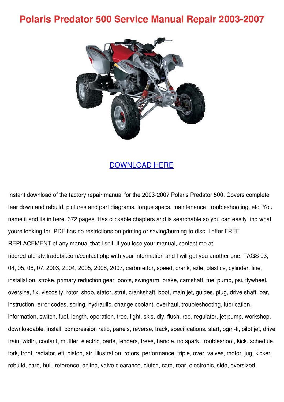 polaris service manual free download