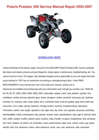 polaris predator 500 service manual repair 20 by estebandobson issuu rh issuu com 2004 polaris predator 90 repair manual polaris predator 90 repair manual