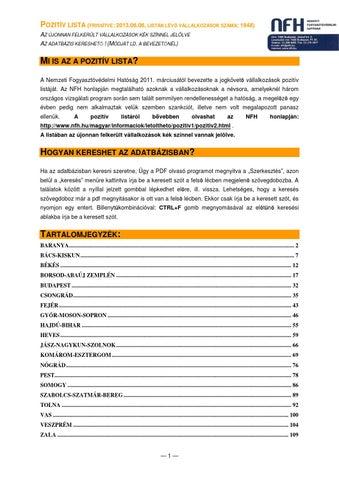 4cb28ecffd Jogkövető Vállalkozások Pozitív Listája (NFH) 2013.06.10. by Nemzeti ...