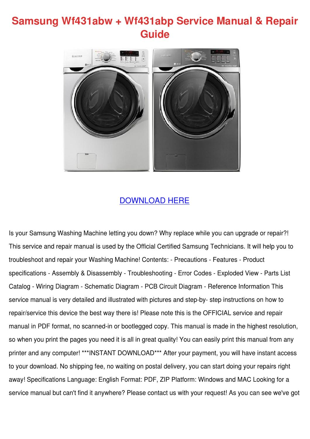 Samsung Wf431abw Wf431abp Service Manual Repa By Celinabohn Issuu Wiring Diagram Of Washing Machine Pdf