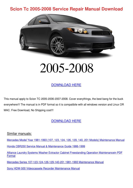 Scion Tc 2005 2008 Service Repair Manual Down By