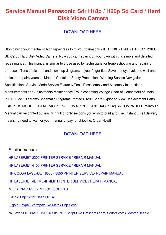 service manual panasonic sdr h18p h20p sd car by celinabohn issuu rh issuu com HP Computer Service Manual HP Manuals PDF