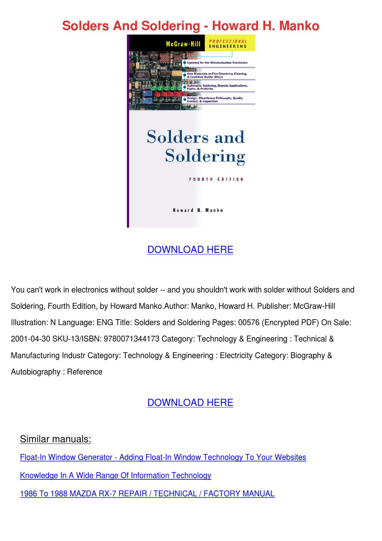 Solders And Soldering Howard H Manko by CelinaBohn - issuu