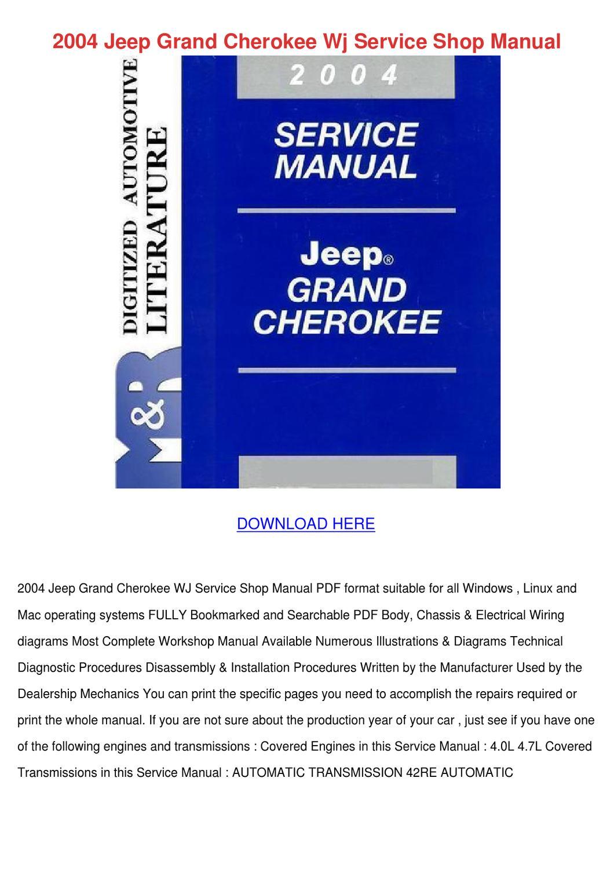 2004 jeep grand cherokee service manual pdf