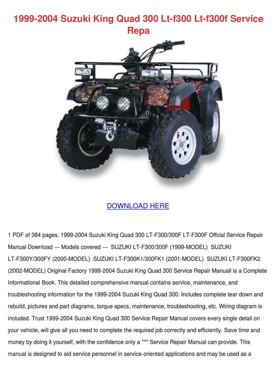 1999 2004 Suzuki King Quad 300 Lt F300 F30 By Lanorahoke Issuu Wiring Diagram