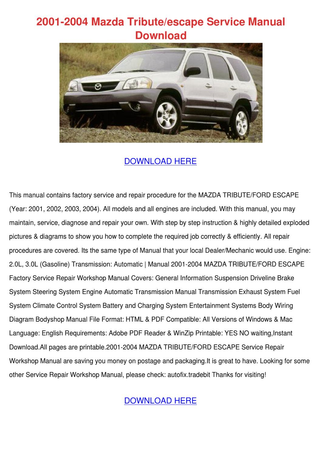 2001 2004 Mazda Tributeescape Service Manual By Lanorahoke Issuu Tribute Engine Diagram
