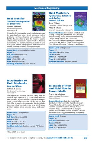 Engineering courses by crc press issuu mechanical engineering fluid machinery heat transfer thermal management of electronics younes shabany flextronics corporation california usa fandeluxe Gallery