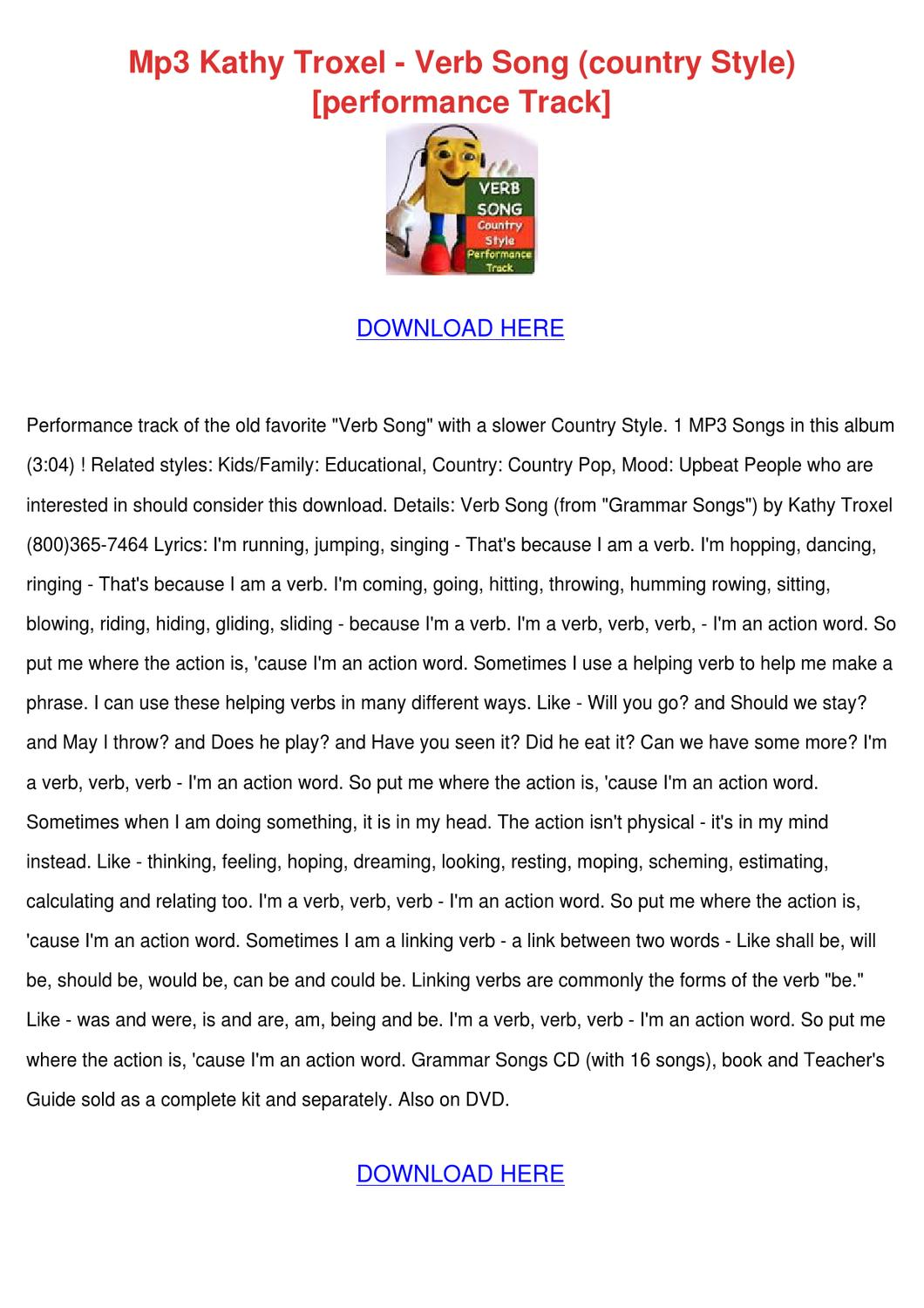 Mp3 Kathy Troxel Verb Song Country Style Perf By
