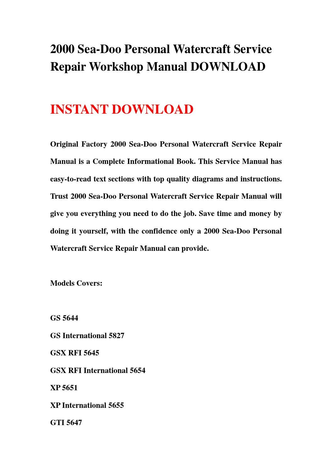 2000 sea doo personal watercraft service repair workshop manual download by  qiguo - issuu