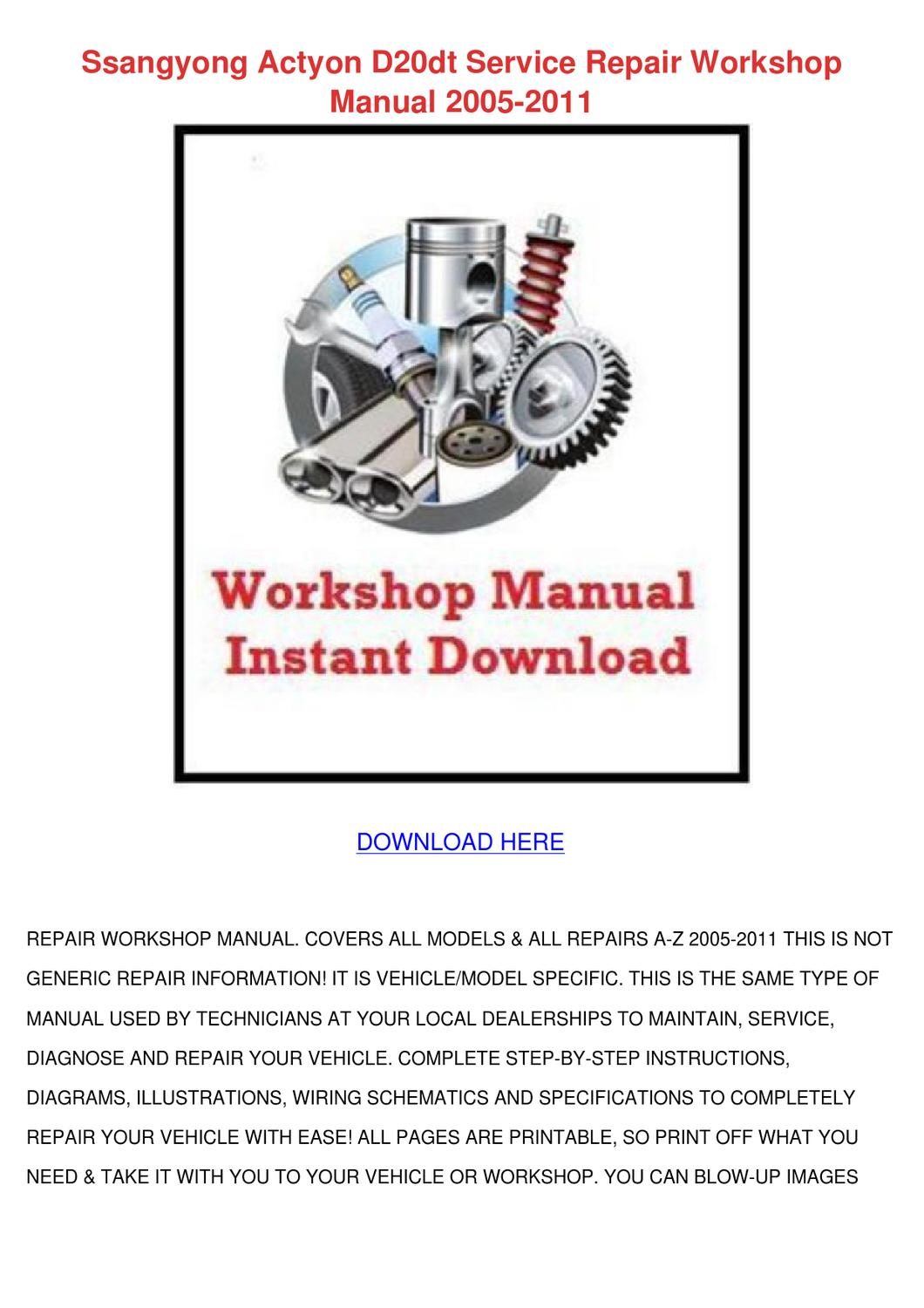 Daewoo Musso Service Repair Manual Car Owners 1760xl Wiring Diagram Ssangyong Actyon D20dt Worksho By Phoebenoll Issuu Rh Com Truck Suv