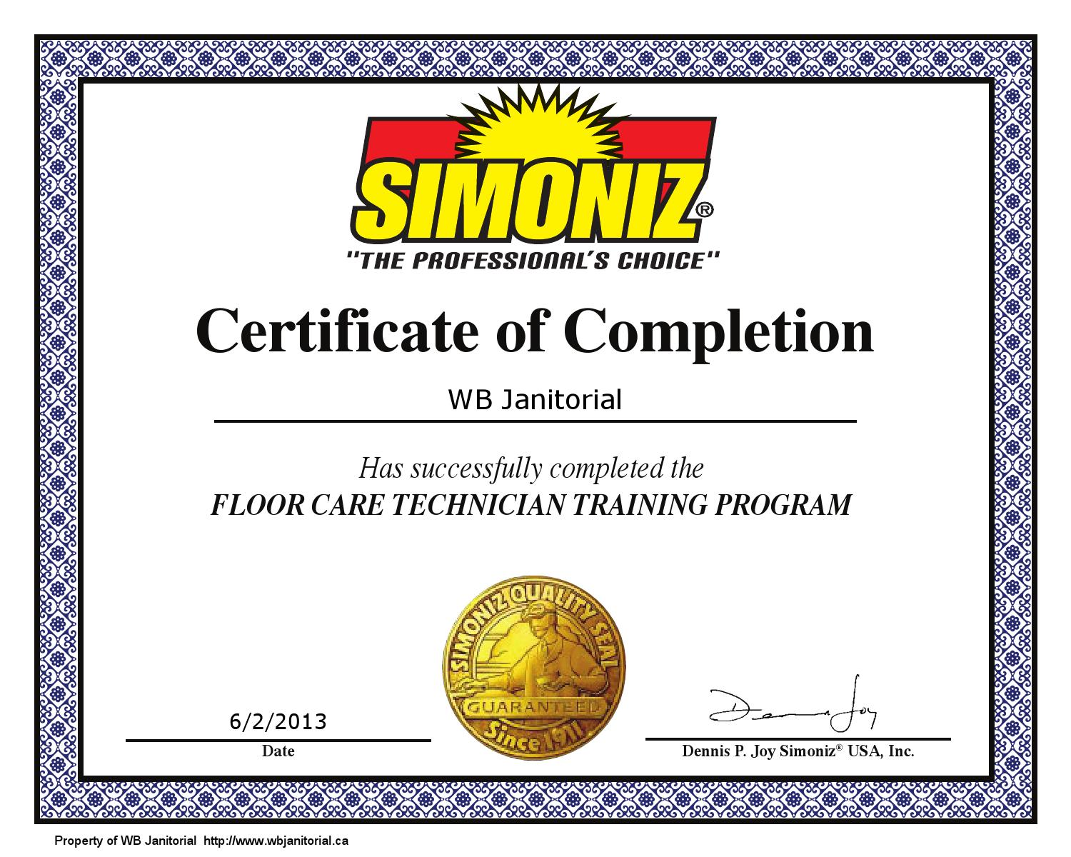 Floor Care Technician Certificate By Wb Janitorial Issuu