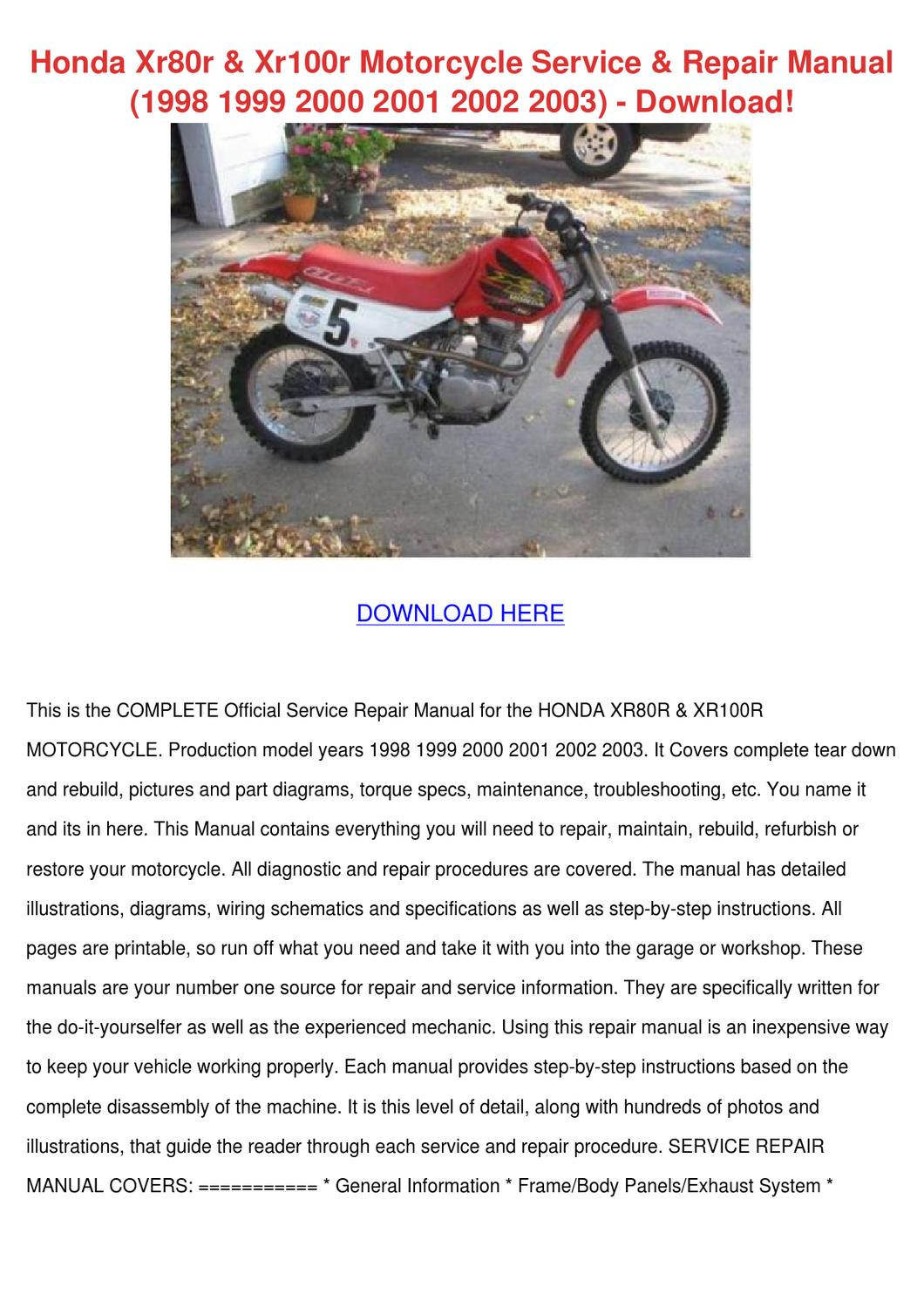 wiring schematic 2002 honda xr80r    honda       xr80r    xr100r motorcycle service repair by     honda       xr80r    xr100r motorcycle service repair by