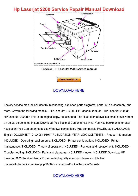 Hp Laserjet 2200 Service Repair Manual Downlo by MilagrosMonk - issuu