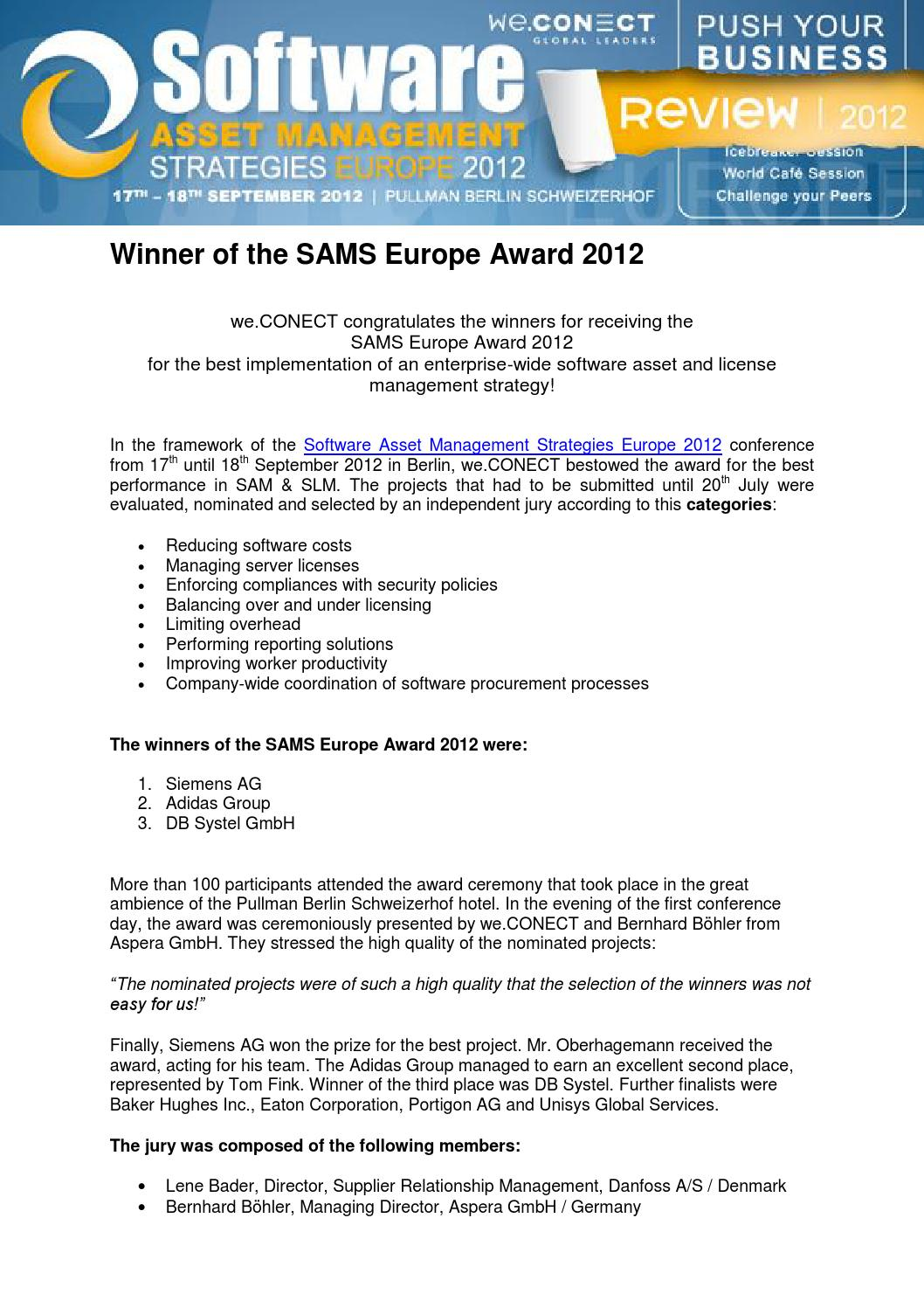 Review sams europe award 2012 by we CONECT Global Leaders