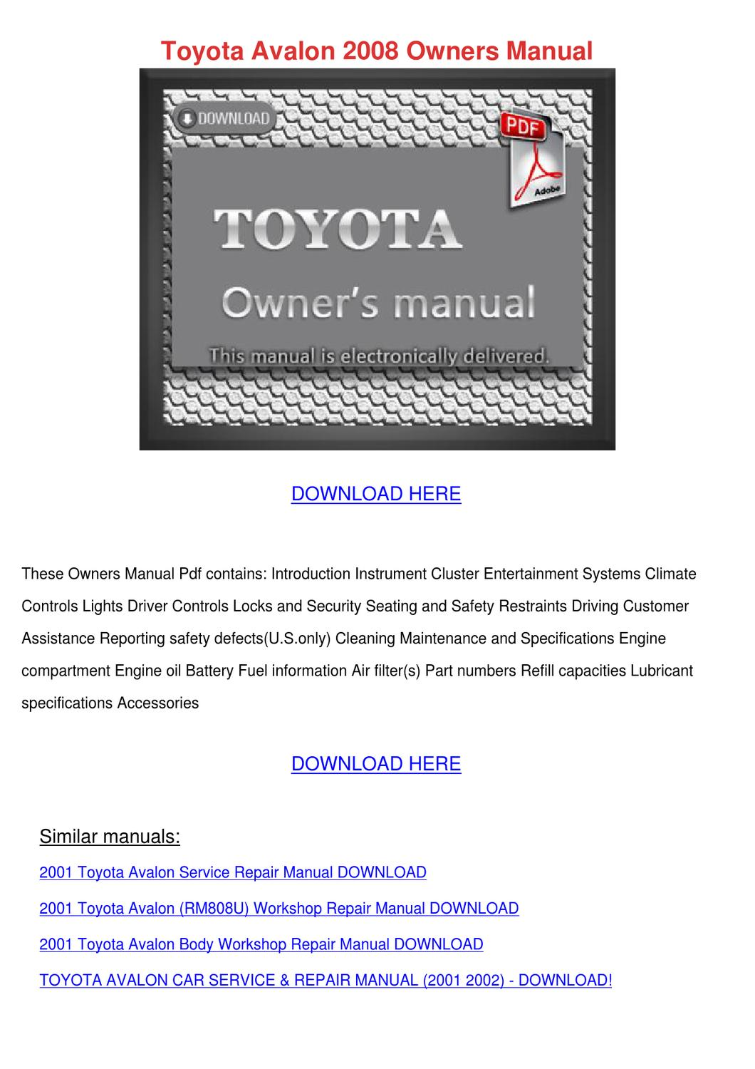 toyota avalon 2008 owners manual by winnievenegas issuu. Black Bedroom Furniture Sets. Home Design Ideas
