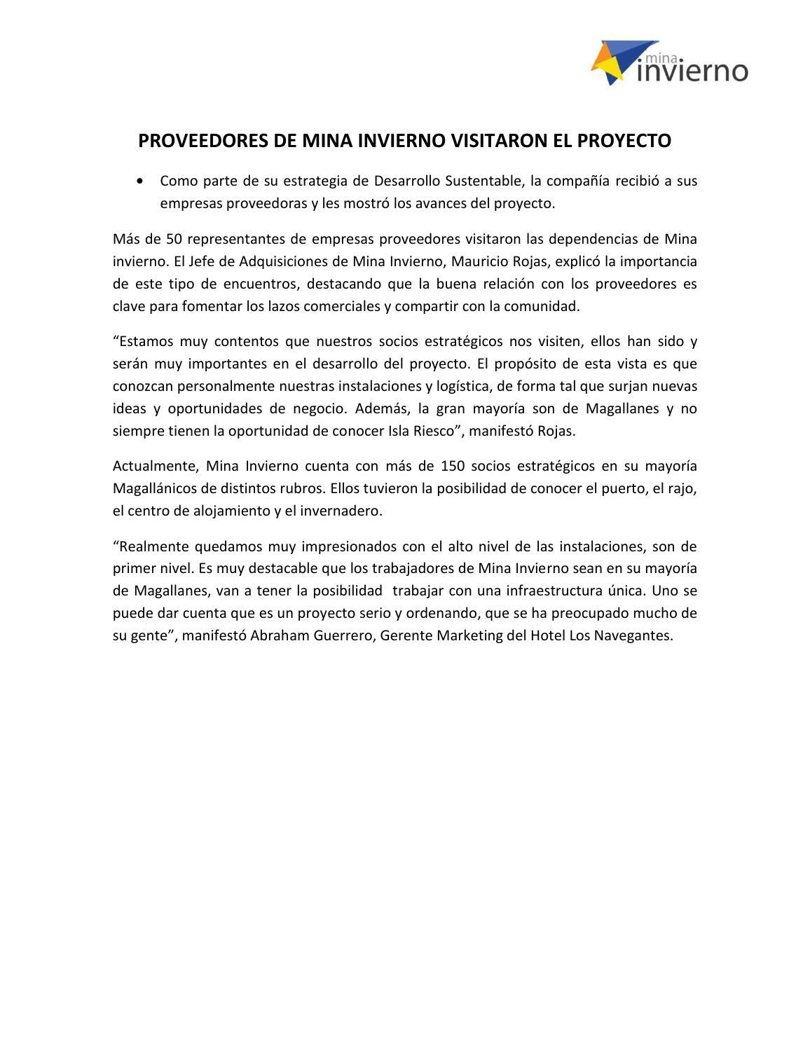 Proveedores de mina invierno visitaron el proyecto by mina - Proyecto el invierno ...