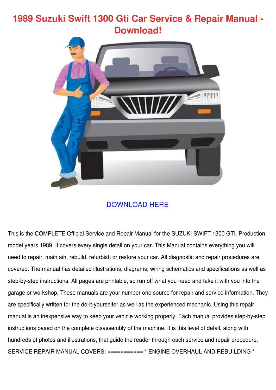 1989 Suzuki Swift 1300 Gti Car Service Repair by AlexanderWiese ...