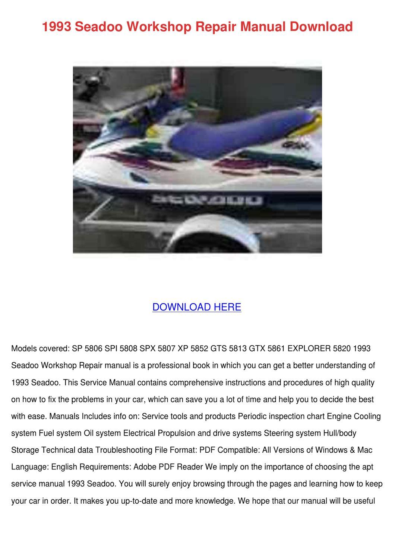 1993 Seadoo Workshop Repair Manual Download by AlexanderWiese - issuu