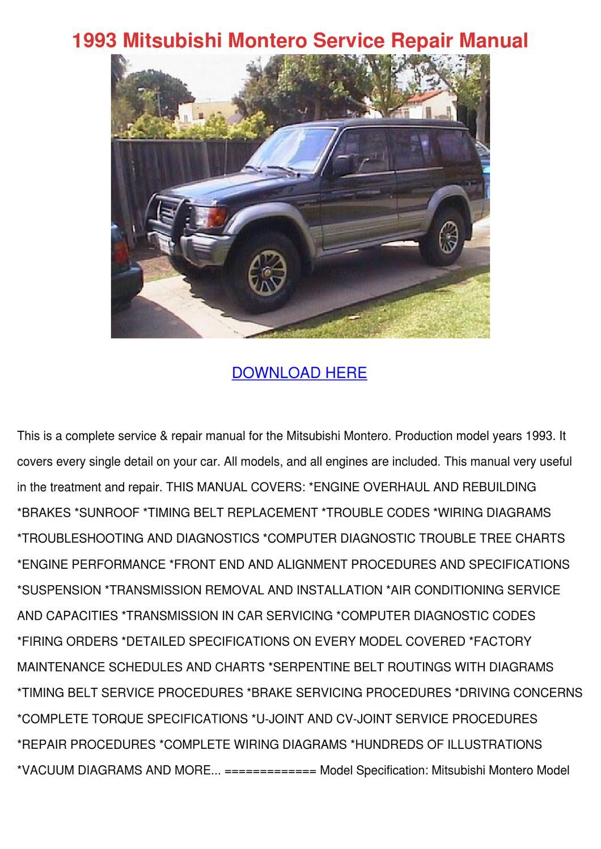 1993 Mitsubishi Montero Service Repair Manual By