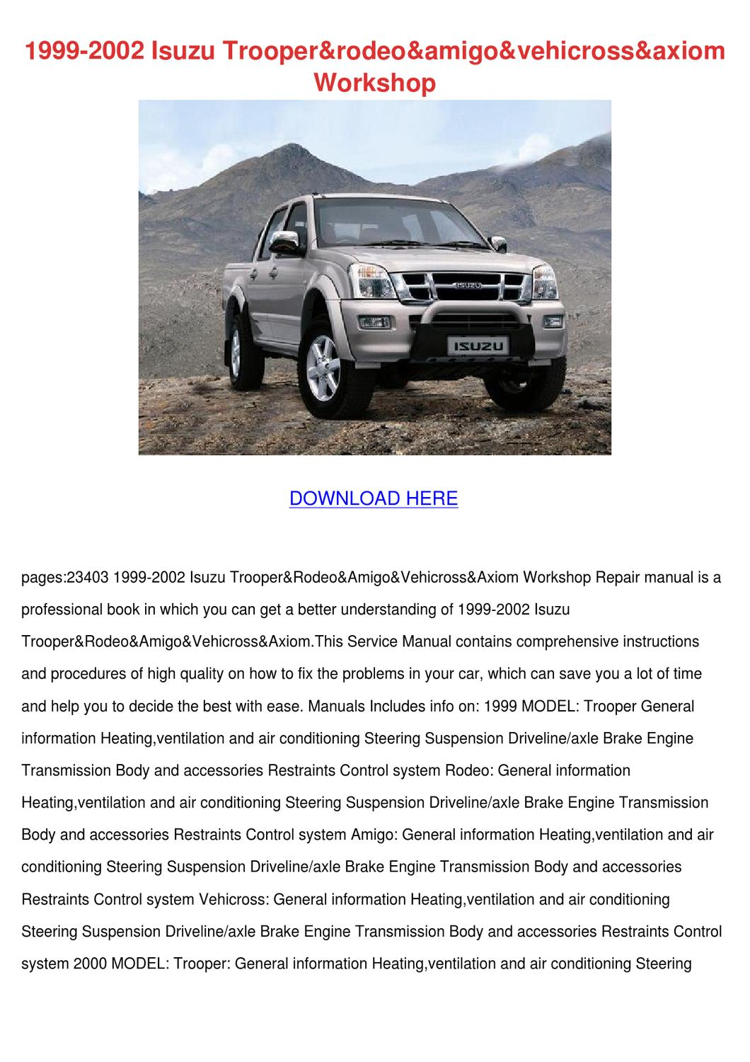 Page on 2002 Isuzu Rodeo Engine Problems