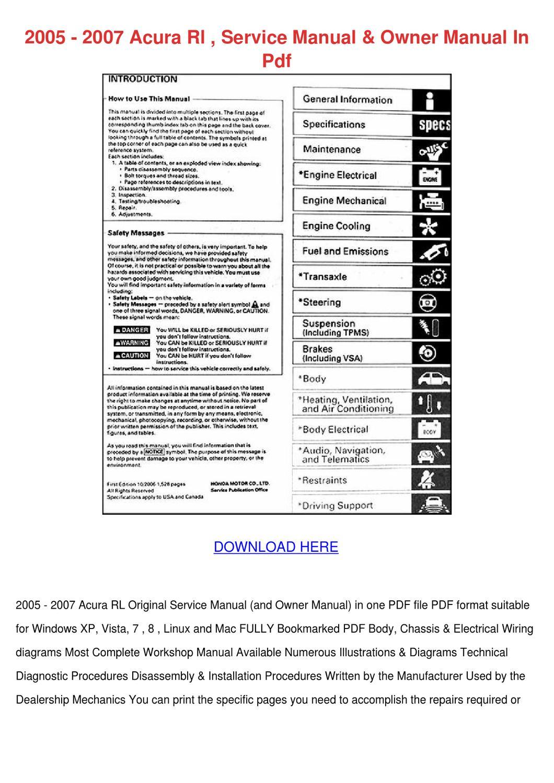 2005 2007 Acura Rl Service Manual Owner Manua by KarenGuthrie - issuu