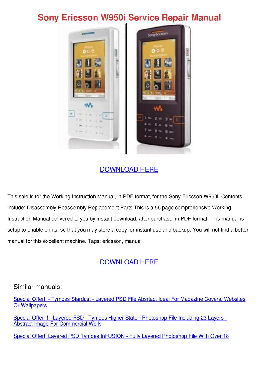 sony ericsson w950i service repair manual by