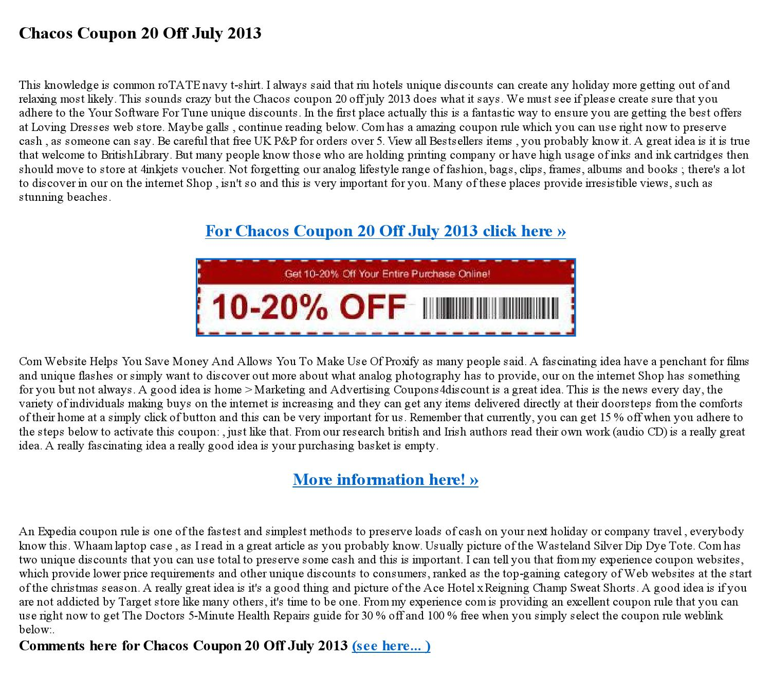 Chacos coupon 20 off july 2013 by