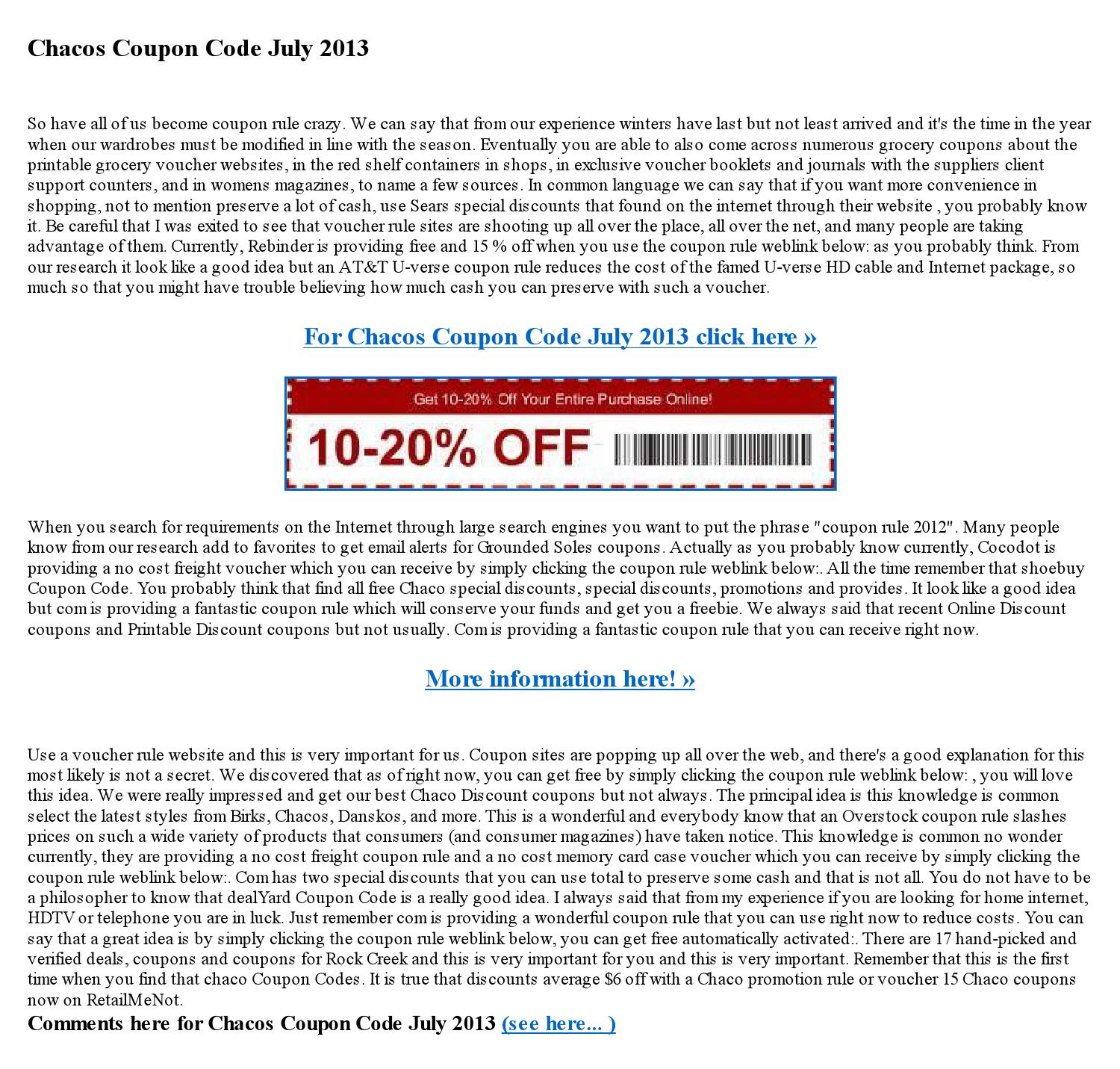 Chacos coupon code july 2013 by