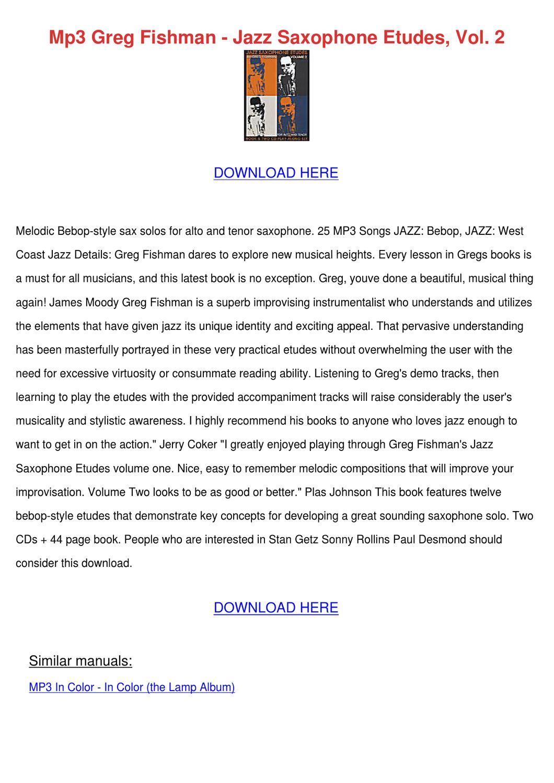 Mp3 Greg Fishman Jazz Saxophone Etudes Vol 2 by AsaAnders - issuu